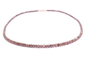 Kette mit braunen naturfarbenen Diamanten, Verschluss in Rotgold